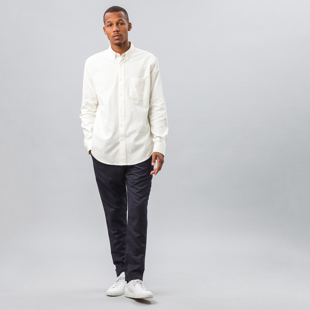 Ami Large Fit Button Down Shirt in Off-White - Notre