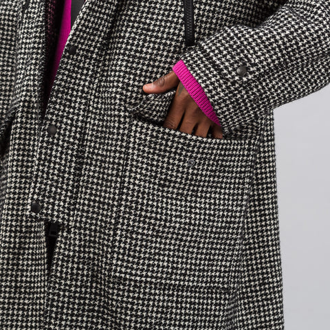 Ami Long Houndstooth Parka in Black/Wht - Notre