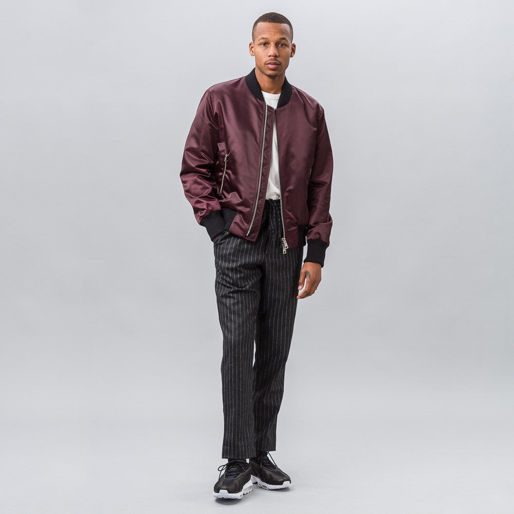 Teddy Full Zip Bomber in Plum