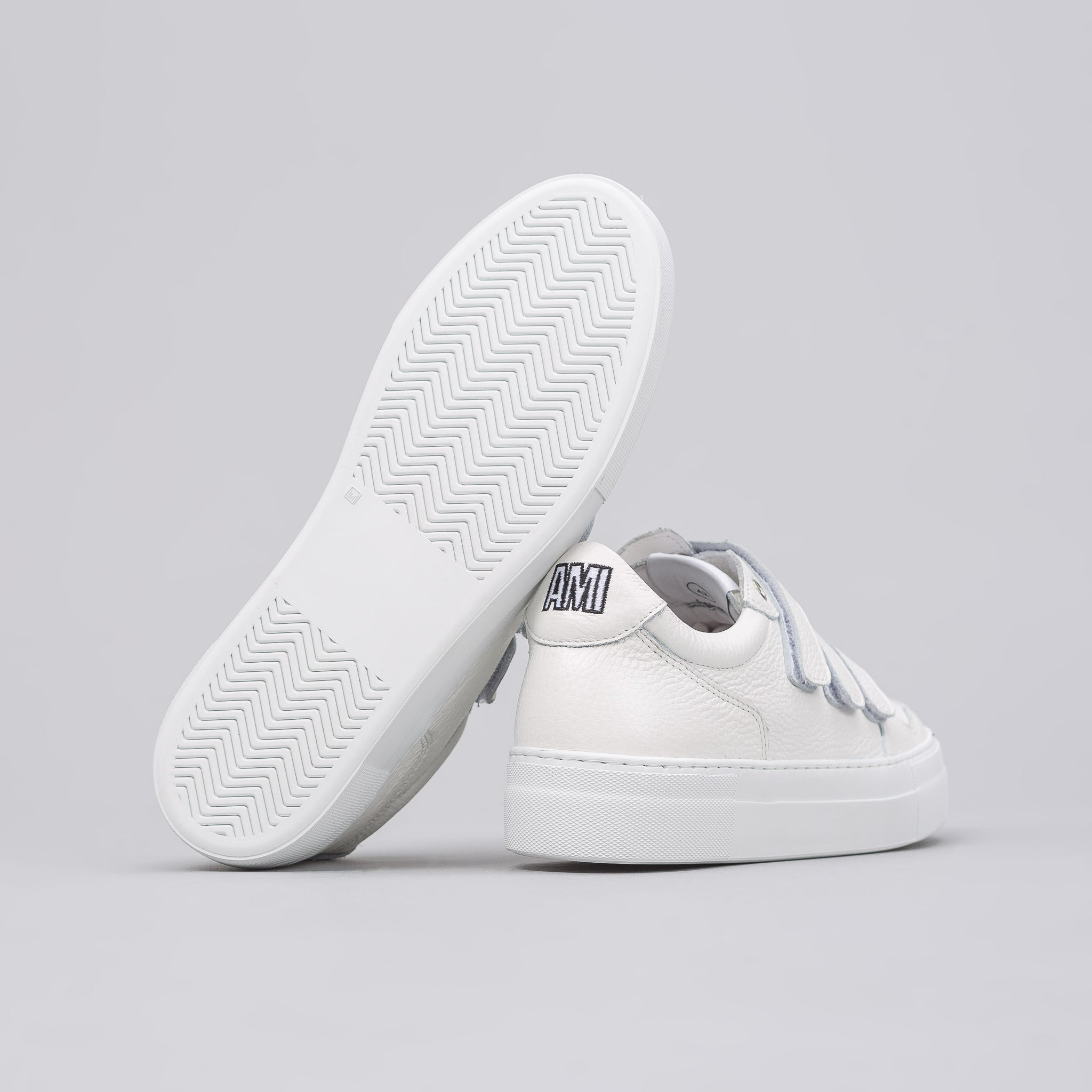 3-Strap Leather Sneaker in White