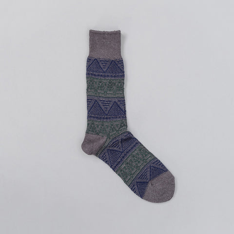 Anonymous Ism Alpine Jacquard Knit Socks in Charcoal/Navy/Green - Notre