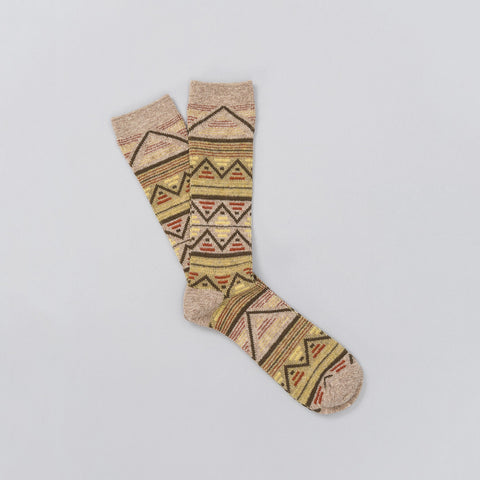 Anonymous Ism Jacquard Knit Socks in Beige - Notre