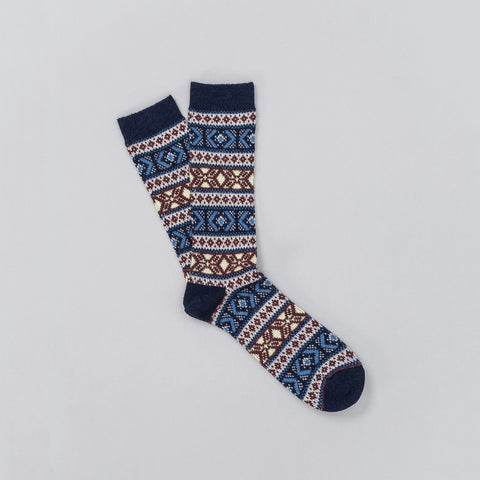 Anonymous Ism Jacquard Crew Sock in Navy - Notre