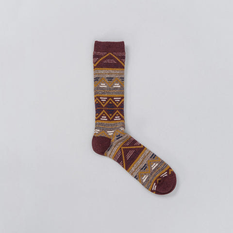 Anonymous Ism Jacquard Knit Socks in Maroon - Notre