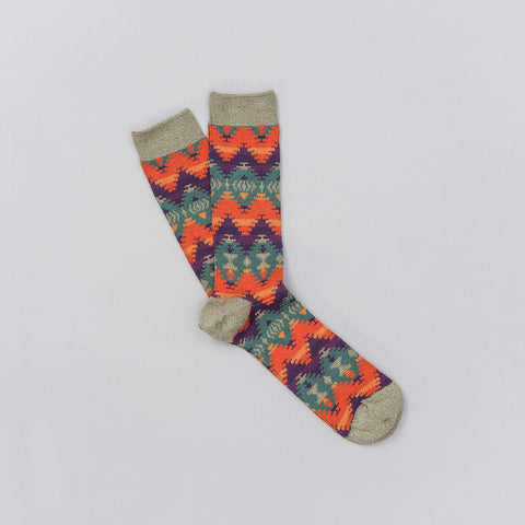 Anonymous Ism Jacquard Knit Sock in Olive/Orange/Teal/Purple - Notre