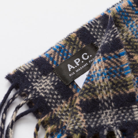 APC Denis Scarf in Navy Plaid - Notre