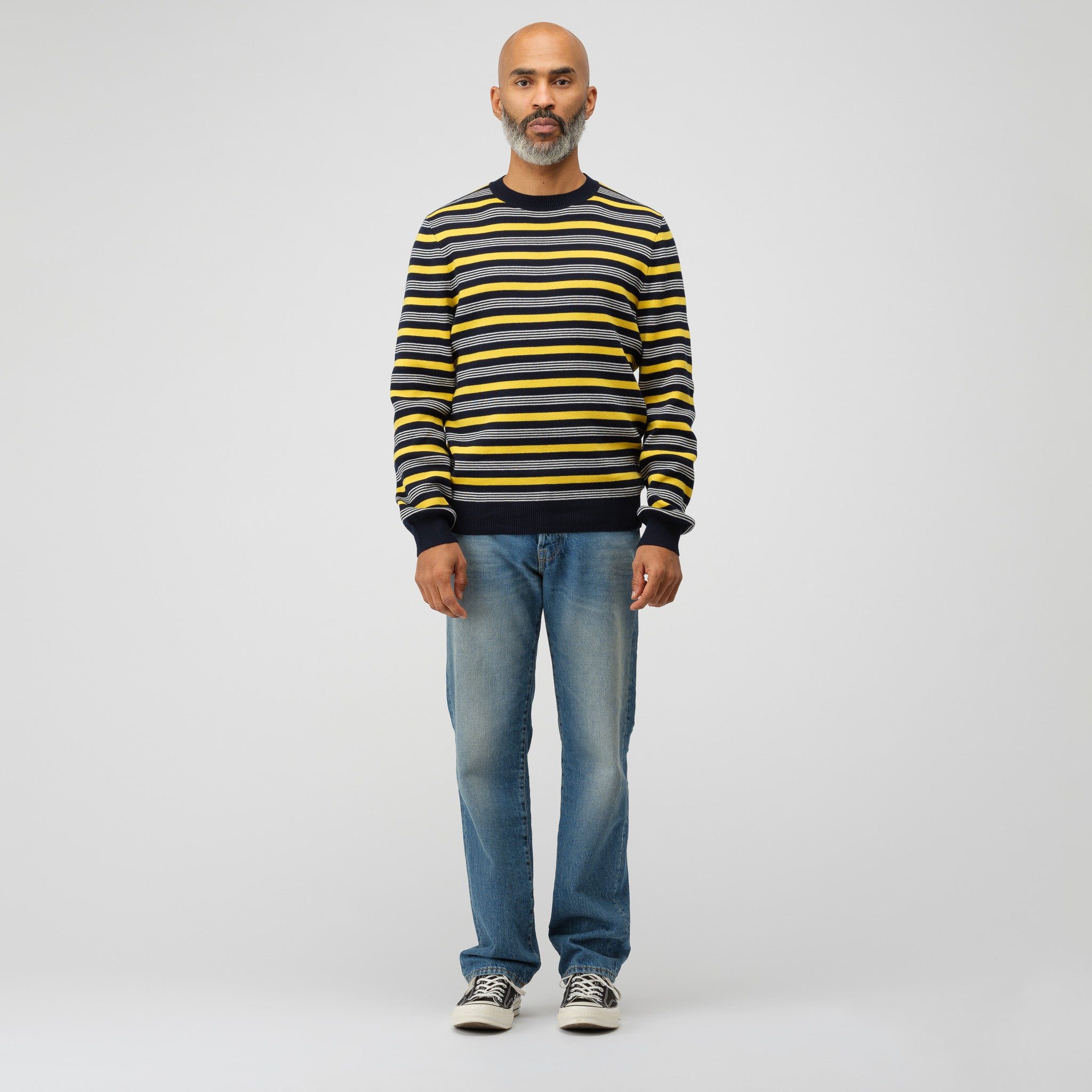 Striped Knit Pullover in Marine/Yellow