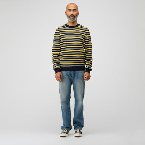 APC Striped Knit Pullover in Marine/Yellow - Notre