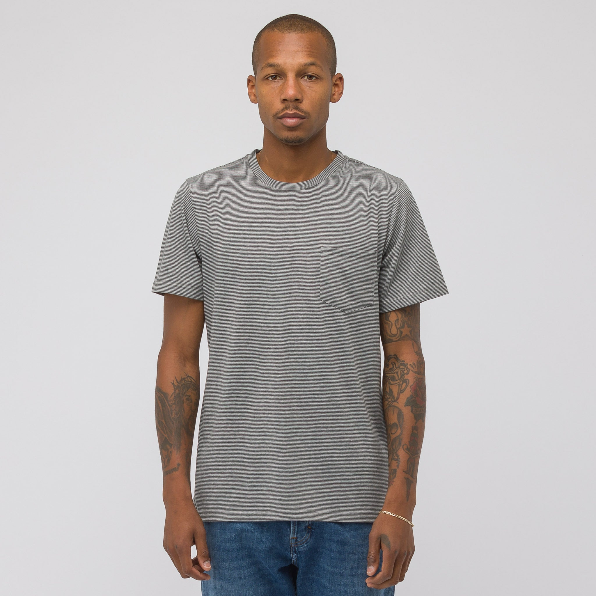 Keanu Pocket T-Shirt in Grey/White