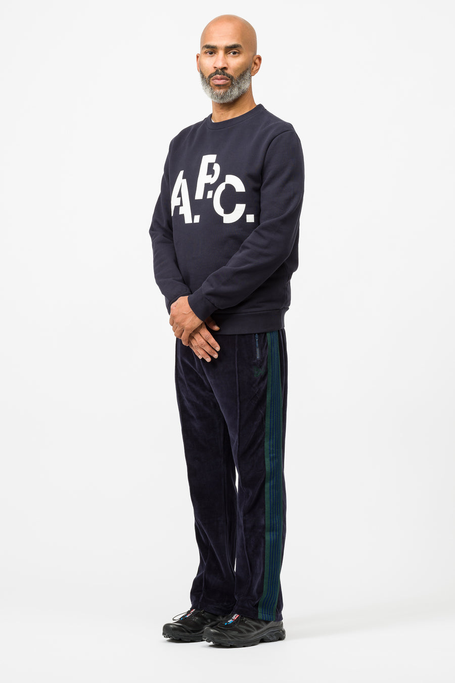 APC Misaligned Sweatshirt in Dark Navy Blue - Notre