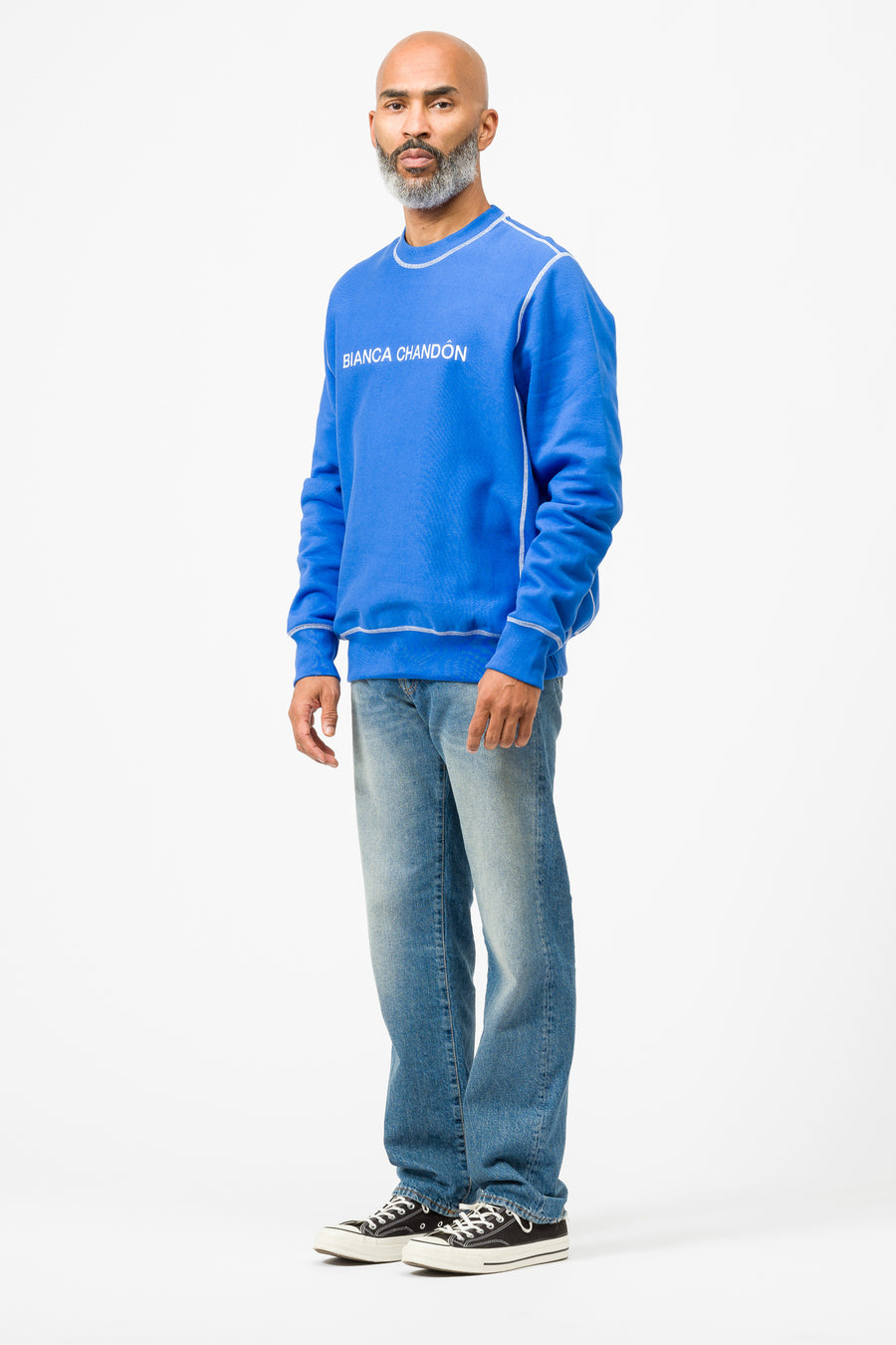 Bianca Chandon Contrast Stitch Logo Crewneck Sweatshirt in Blue - Notre