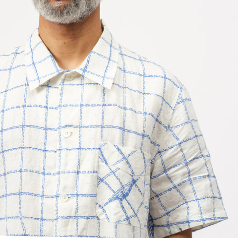 Our Legacy Box Short Sleeve Shirt with Blue Dish Towel Print - Notre