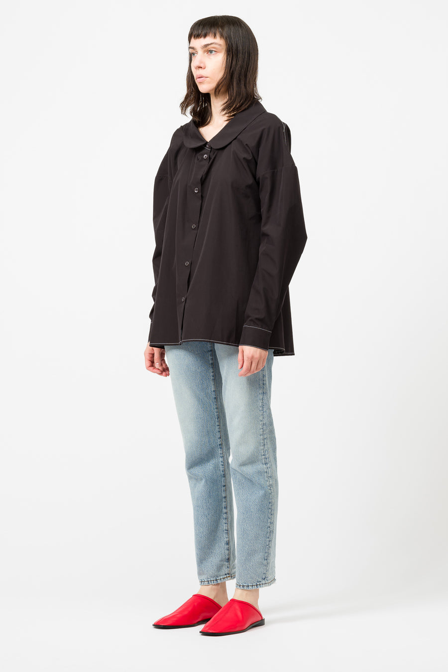 Marni L/S Crew Neck Shirt in Black - Notre