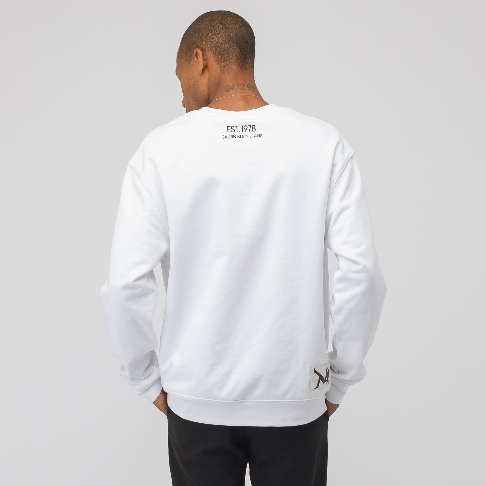 Brooke Embroidery Crew Neck in White/Black