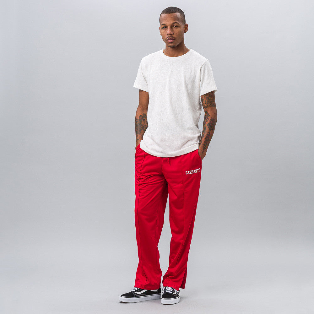 Carhartt WIP College Track Pant in Red/White