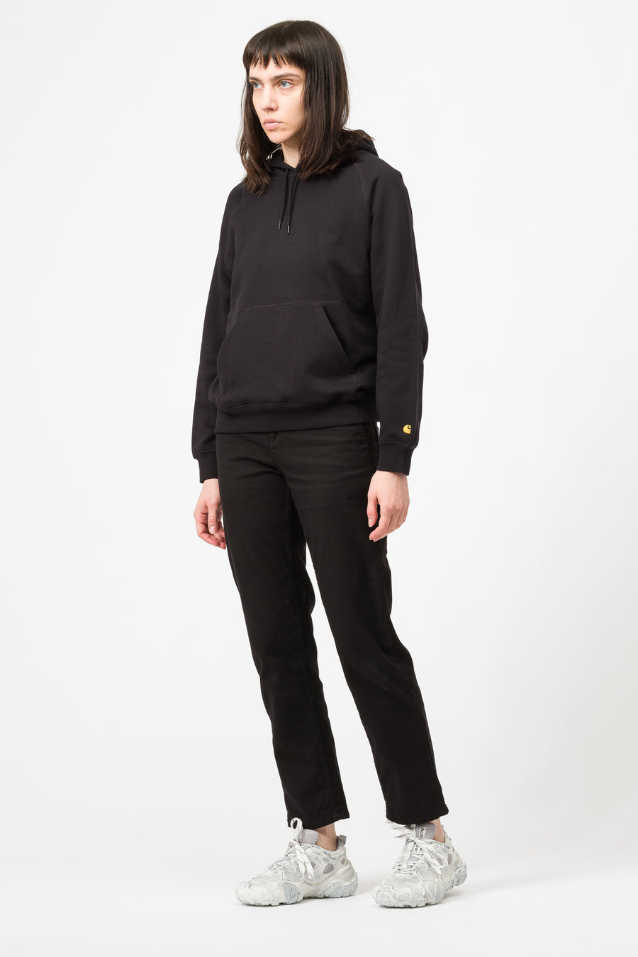 Carhartt WIP Hooded Chasy Sweatshirt in Black/Gold - Notre