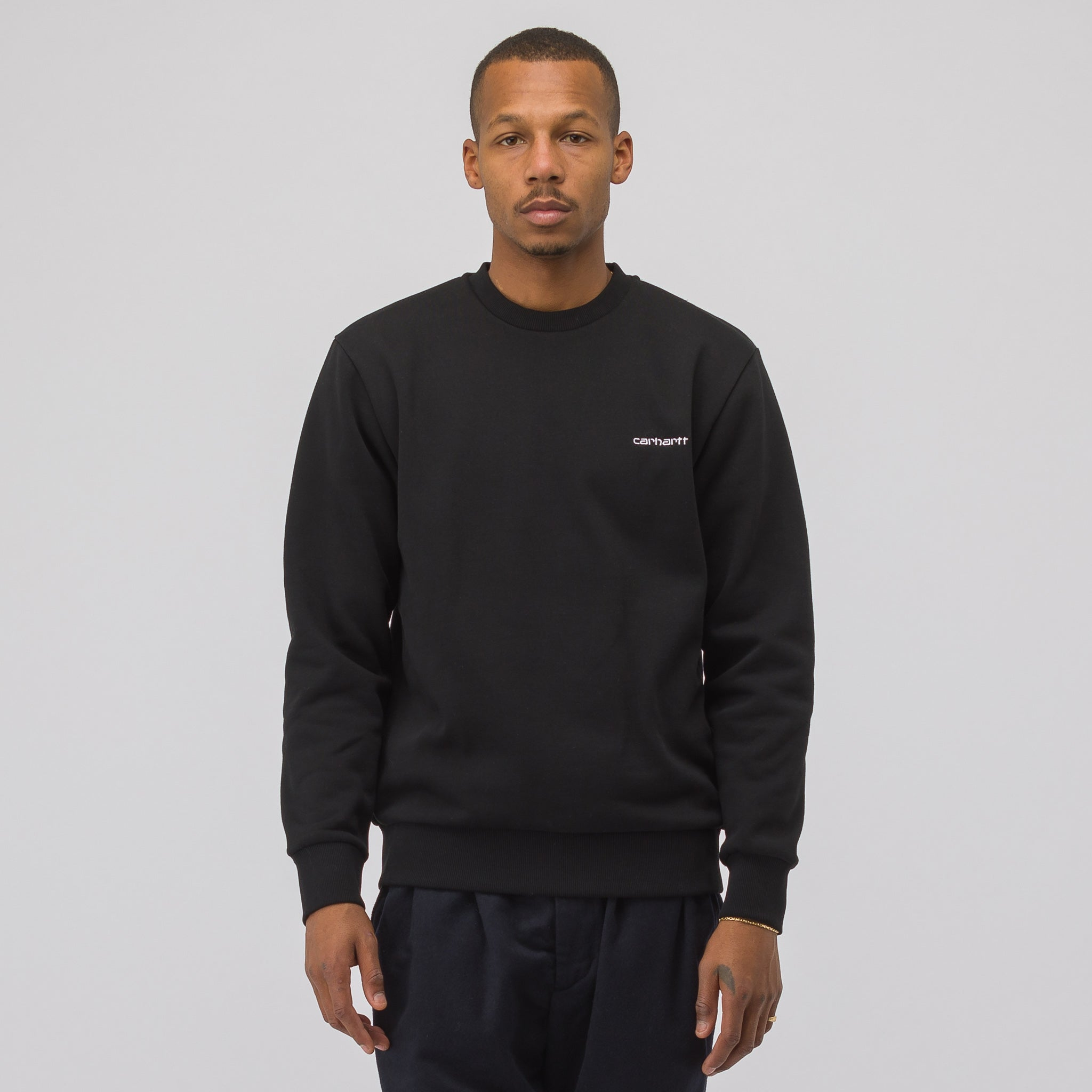 Script Embroidery Sweatshirt in Black