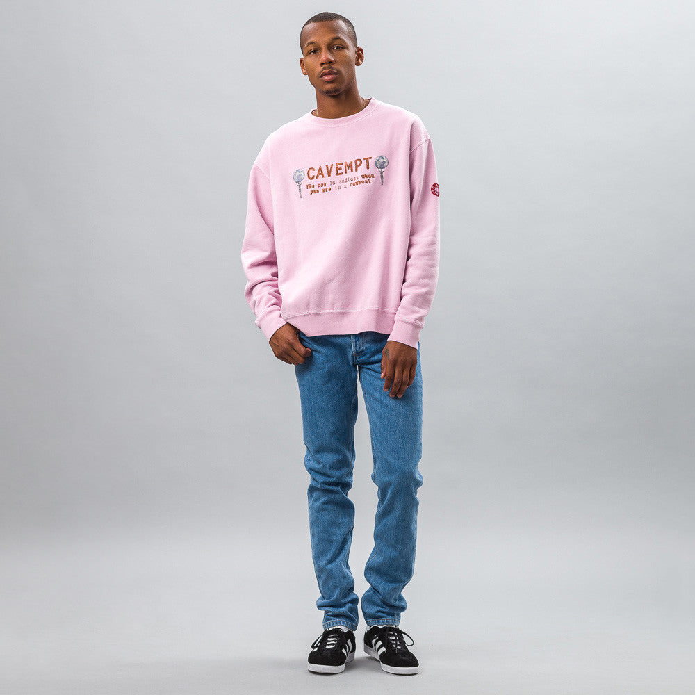 Cav Empt Endless Crew Neck in Pink Model Shot