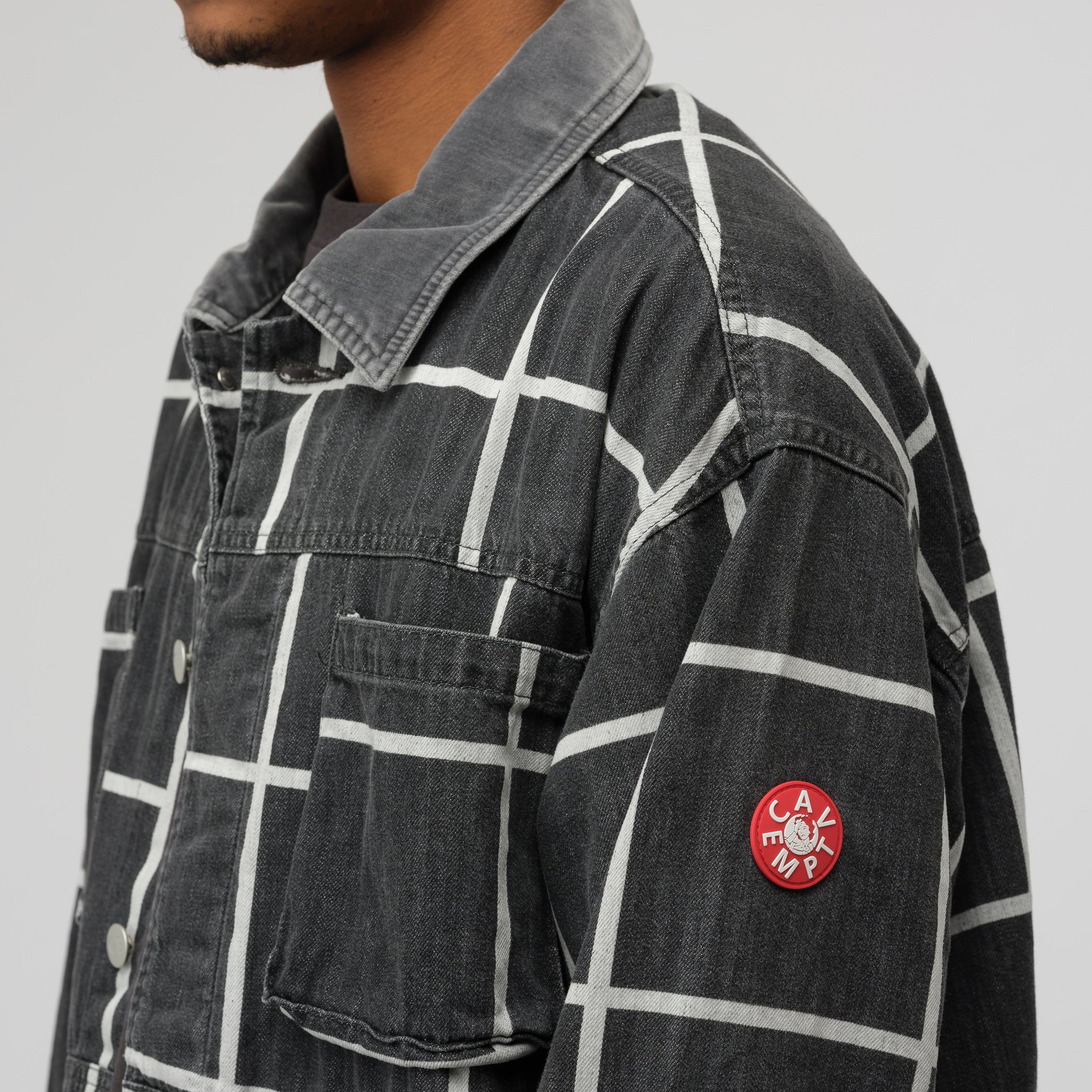 Grid Black Denim Jacket in Black/White