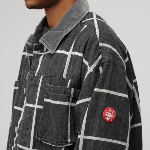 Cav Empt Grid Black Denim Jacket in Black/White - Notre