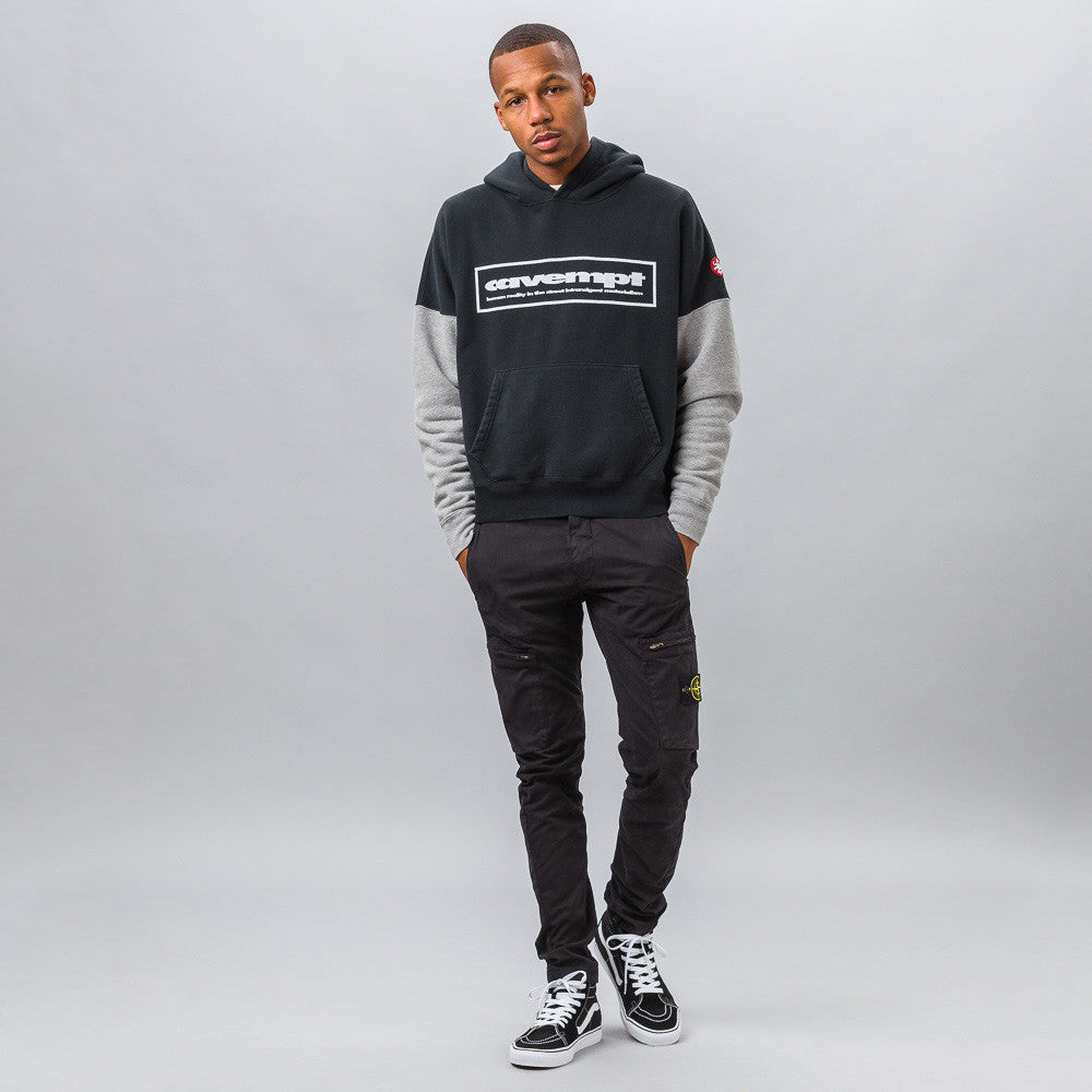 Cav Empt CAVEMPT Heavy Hoodie in Black/Grey Model Shot