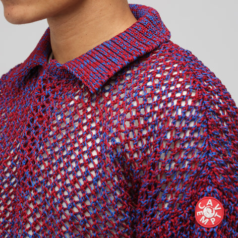 Cav Empt Loose Waffle Collared Knit in Red - Notre