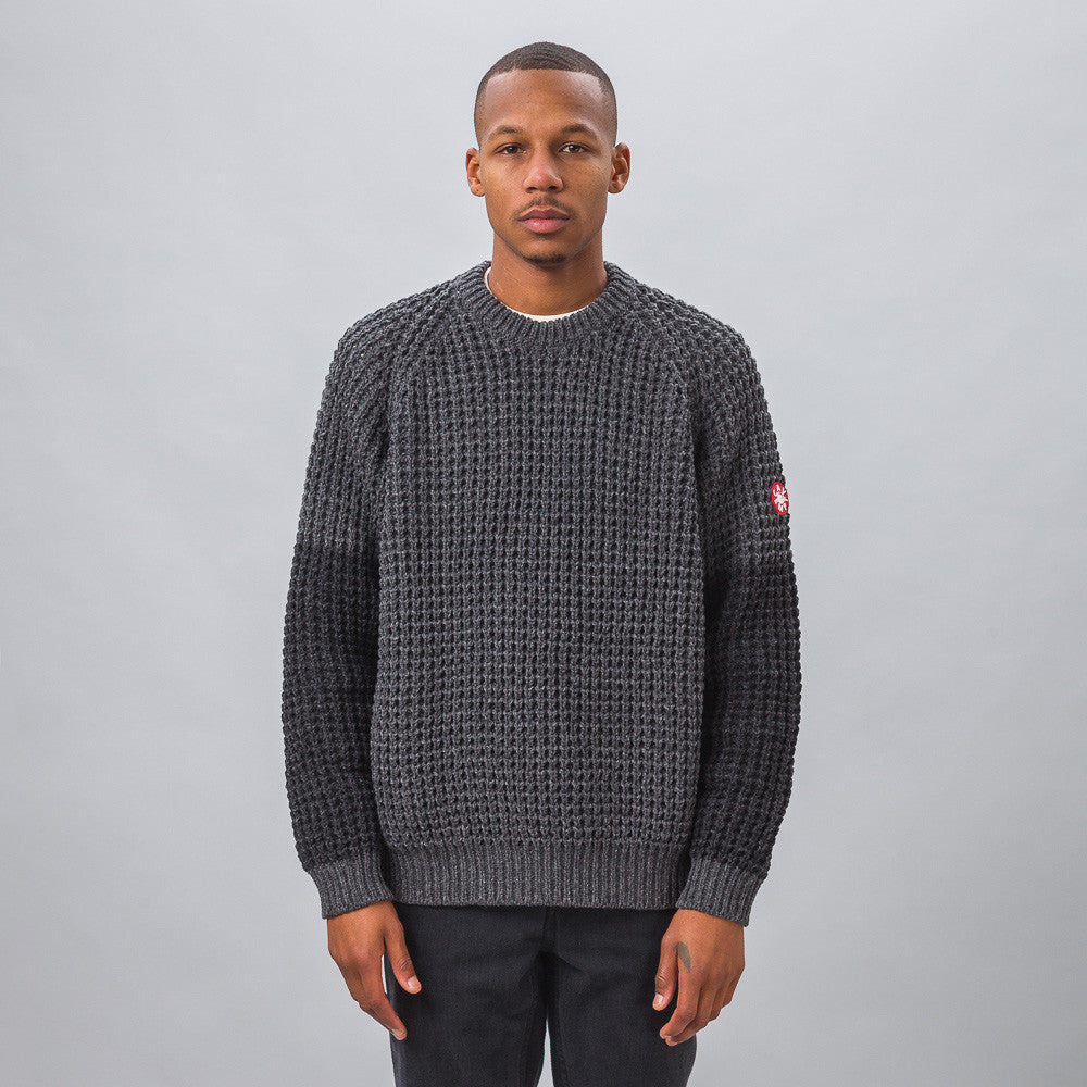 Waffle Knit Sweater in Grey