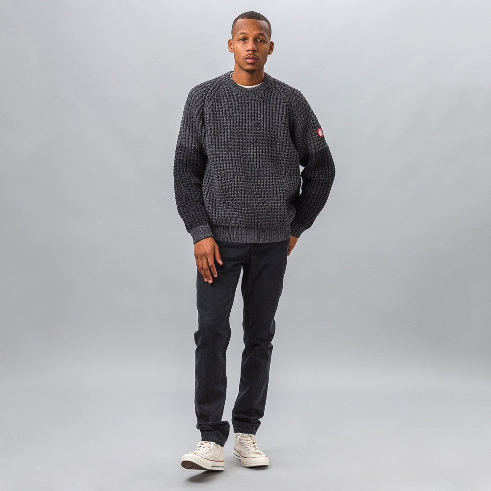 Cav Empt Loose Waffle Knit Sweater in Grey Model Shot