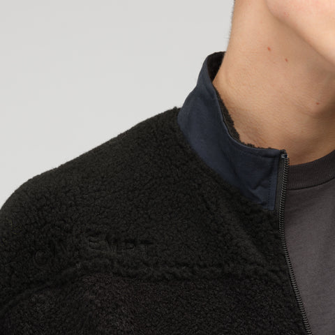 Cav Empt Panel Fleece Zip Up Sweater in Black - Notre