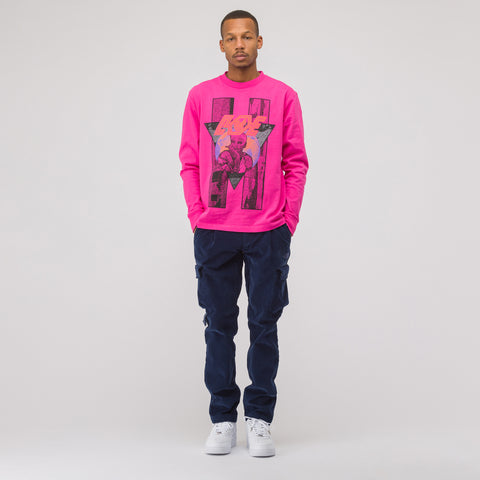 Resting Overdye Long Sleeve T-Shirt in Pink