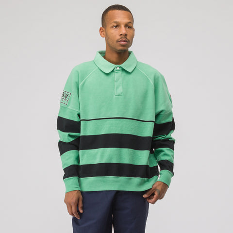 Cav Empt Stripe Collared Sweatshirt in Green - Notre