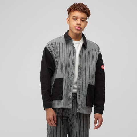 Cav Empt Stripe Shirt Jacket in Grey - Notre