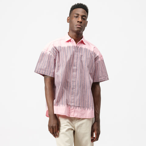 Cav Empt Stripe S/S Button Down Shirt in Pink - Notre