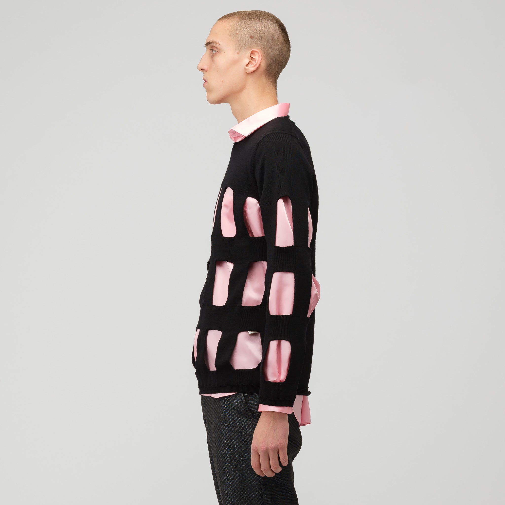 Cut Out Wool Crewneck Sweater in Black
