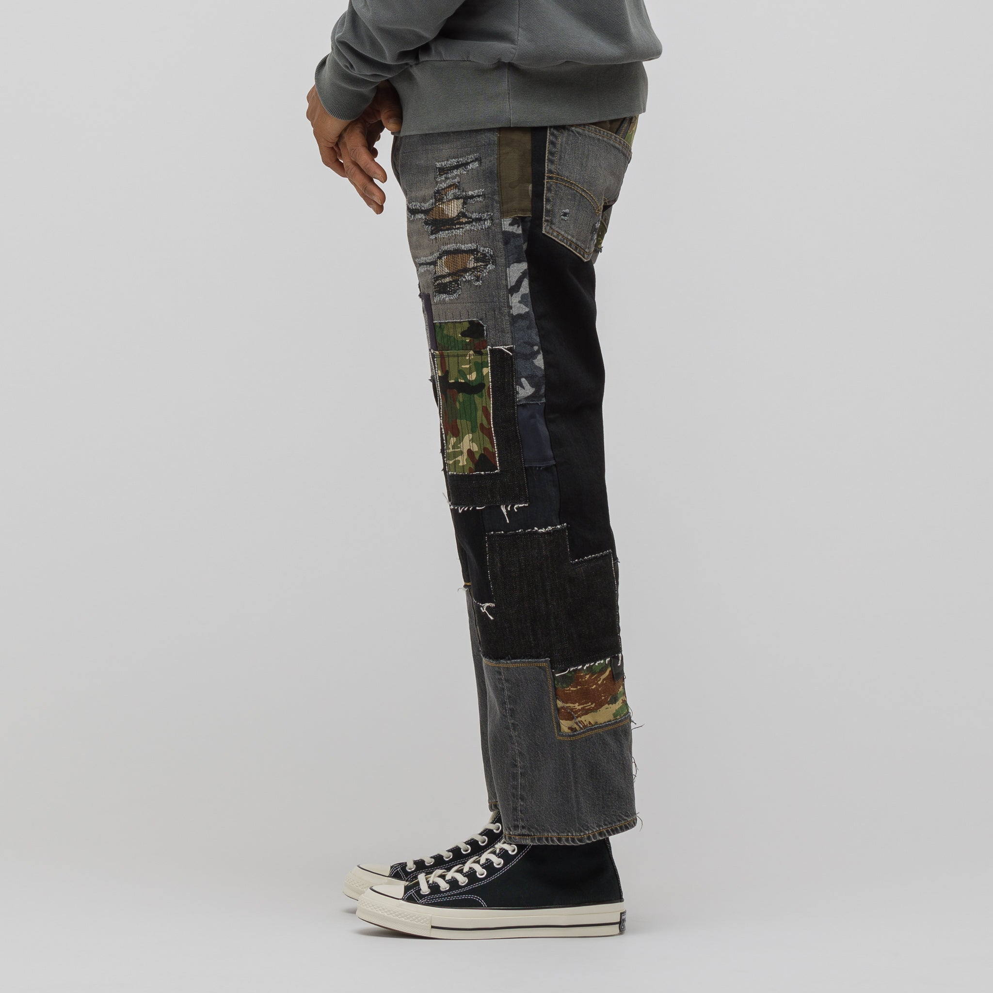 Patchwork Jean in Black/Grey