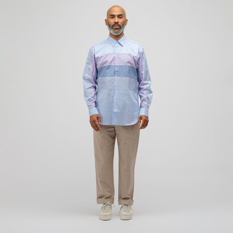 Comme des Garcons Shirt Patchwork Button-Up Shirt in Blue Check - Notre