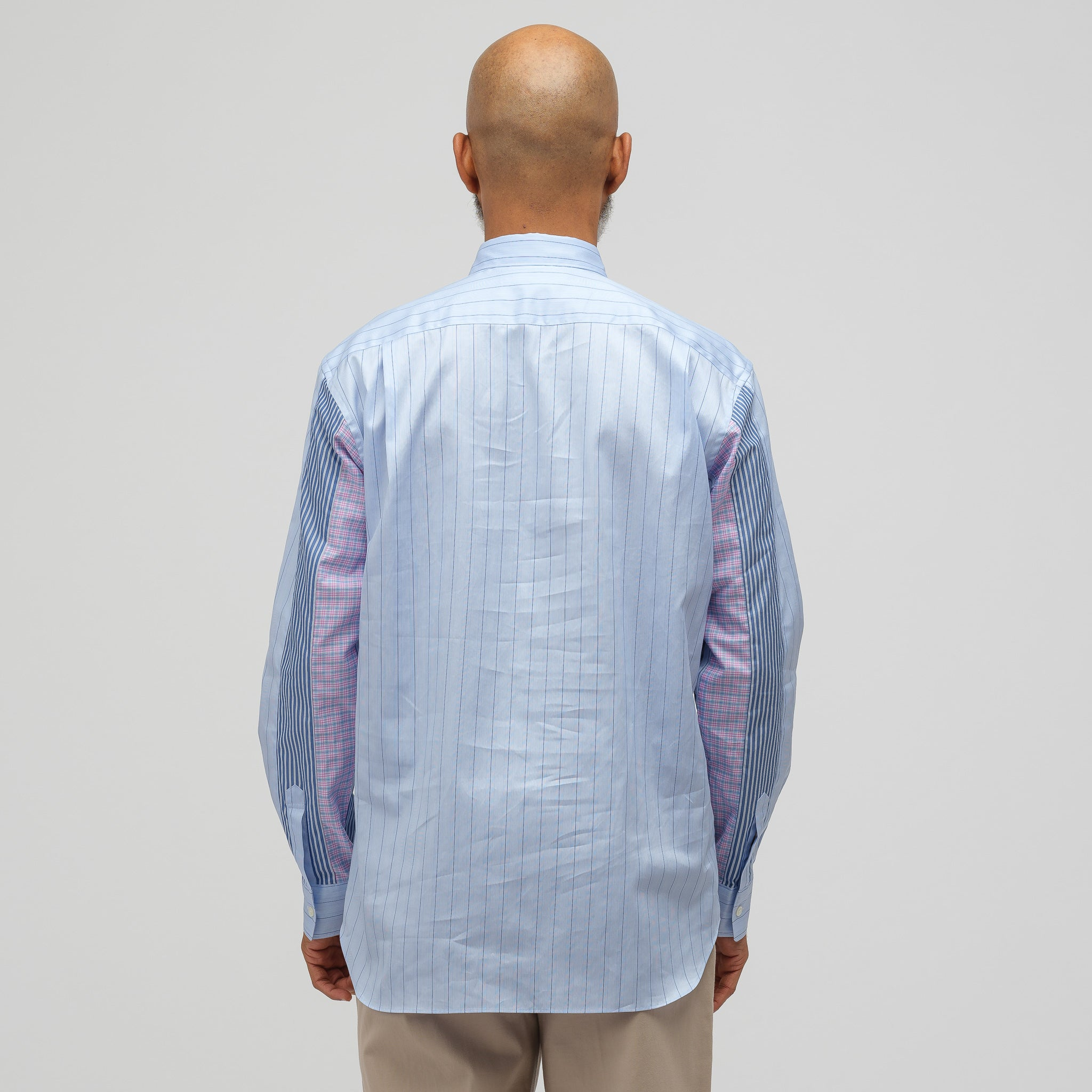 Patchwork Button-Up Shirt in Blue Check
