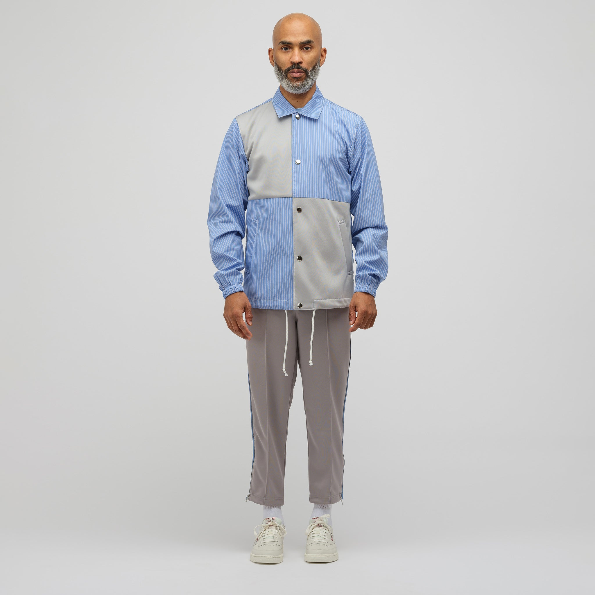 Patchwork Coach's Jacket in Blue/Grey
