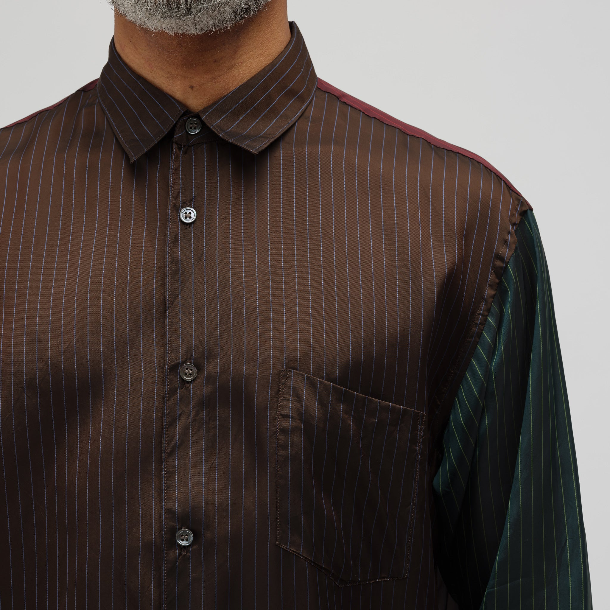 Striped Button-Up Shirt in Brown/Green