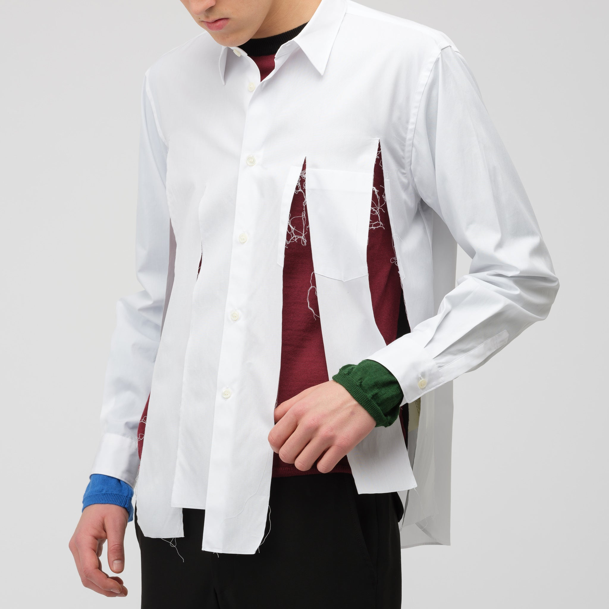 Tattered Front Shirt in White