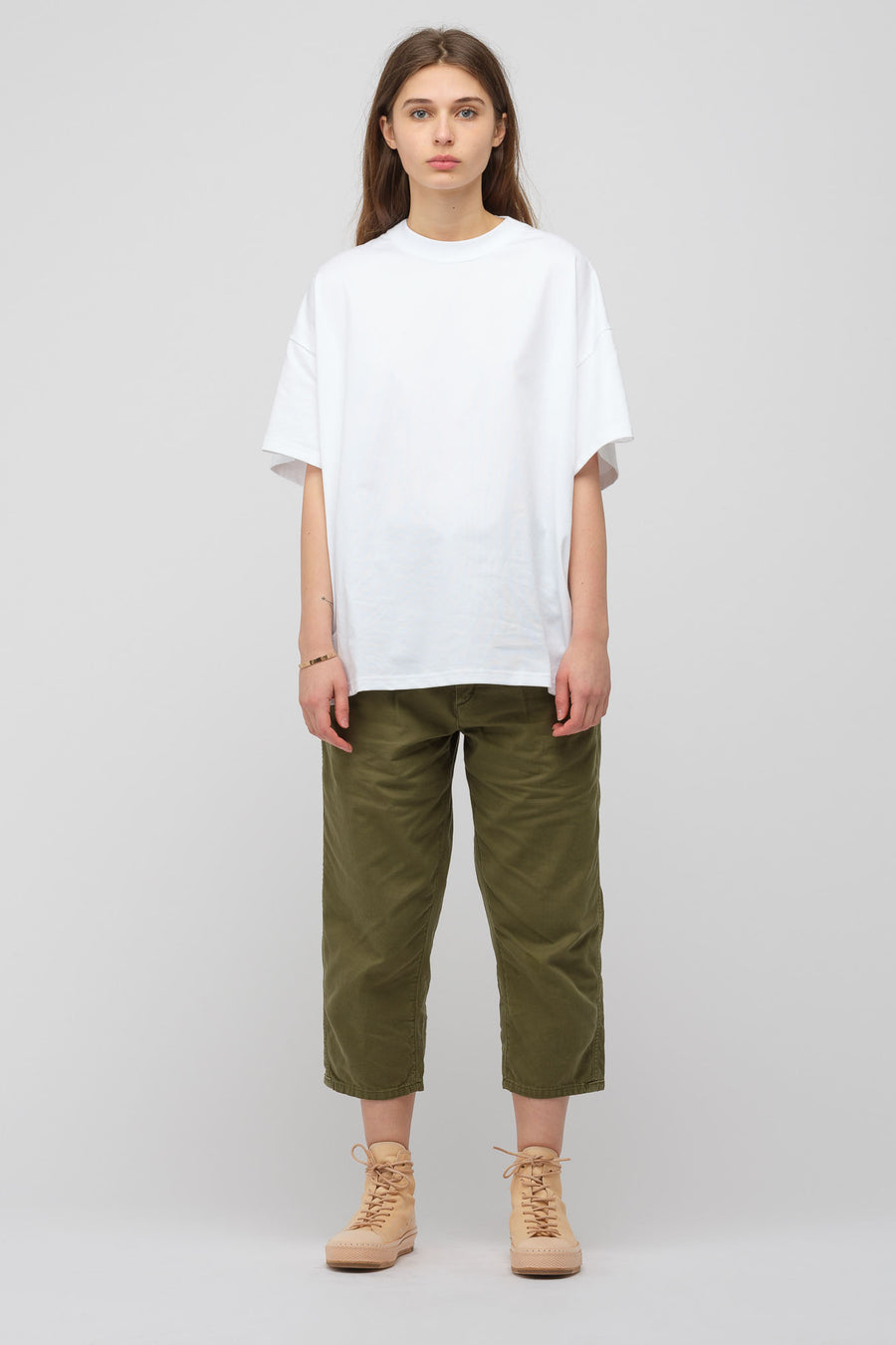 Chimala Loose Backsatin Silk Touch Farmer's Work Pant in Khaki Green - Notre