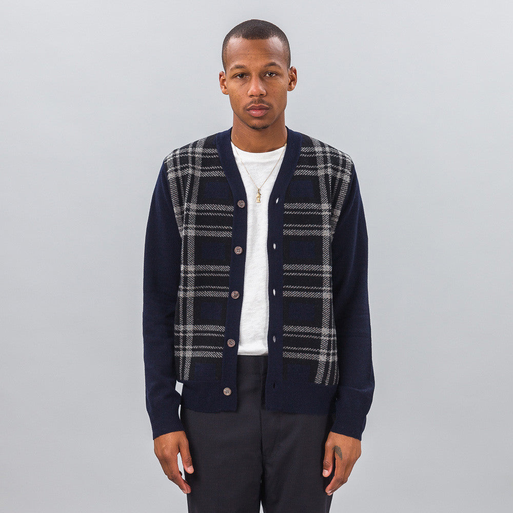 Comme des Garcons Shirt - Wool Cardigan in Navy Plaid - Notre - 1