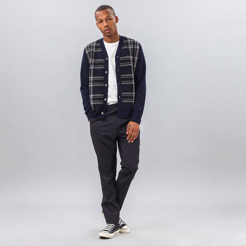 Comme des Garcons Shirt Wool Cardigan in Navy Plaid - Notre