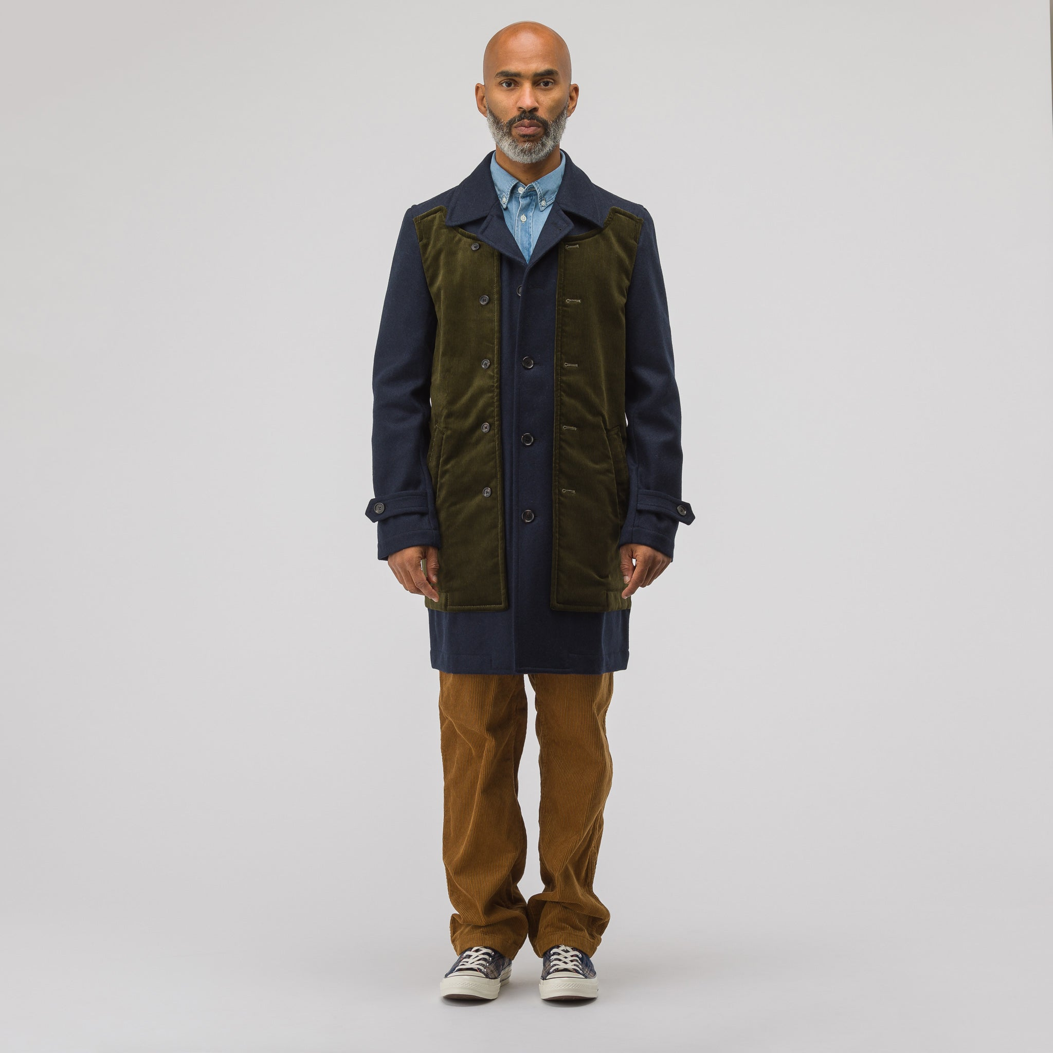 Corduroy Coat in Olive/Navy