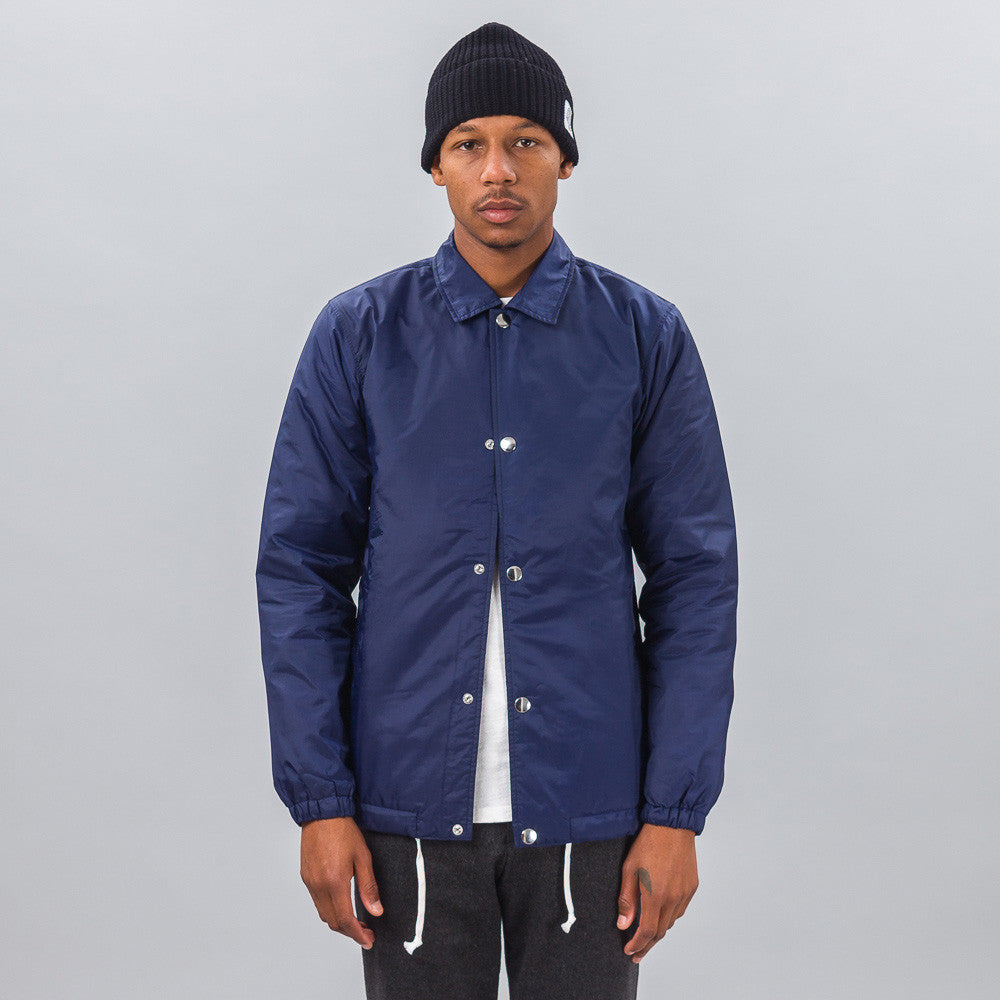 Commes des Garcons Shirt Woven Coach's Jacket in Navy Blue Model SHot