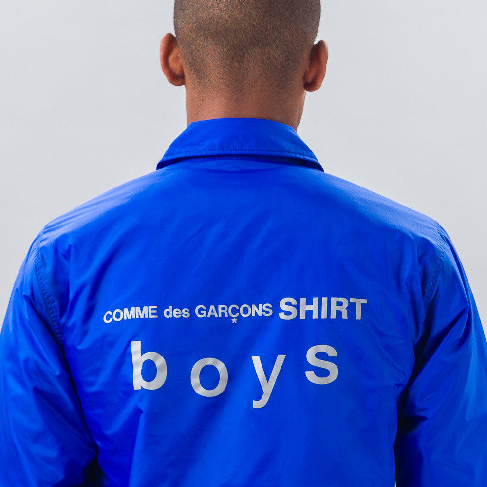 Comme des Garcons Shirt Woven Coach's Jacket in Light Blue - Notre