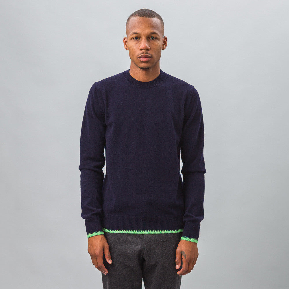 Comme des Garcons Shirt - Knit Crewneck Sweater in Navy - Notre - 1
