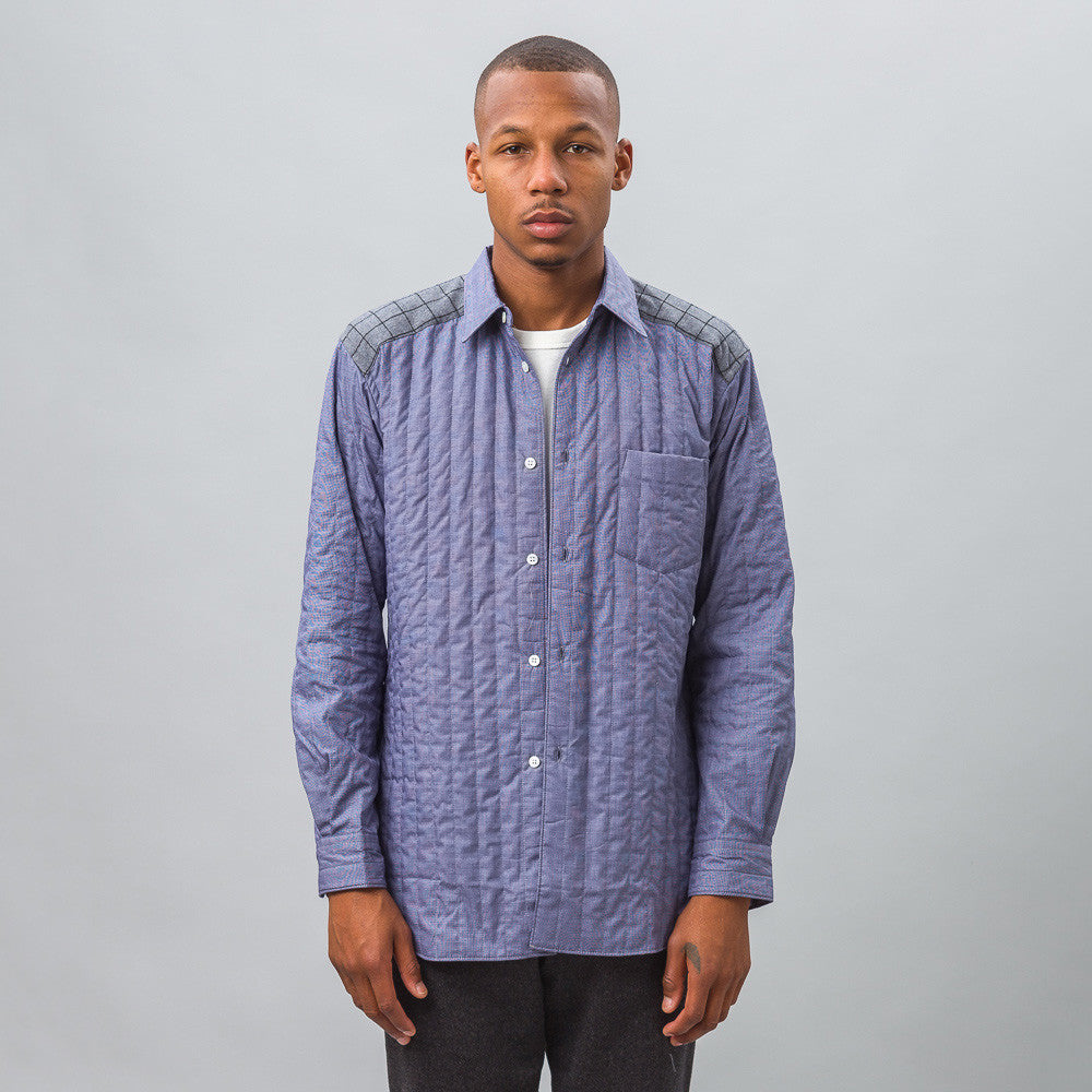 Comme des Garcons Shirt - Quilted Shirt in Blue - Notre - 1