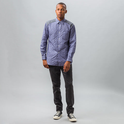 Comme des Garcons Shirt Quilted Shirt in Blue - Notre