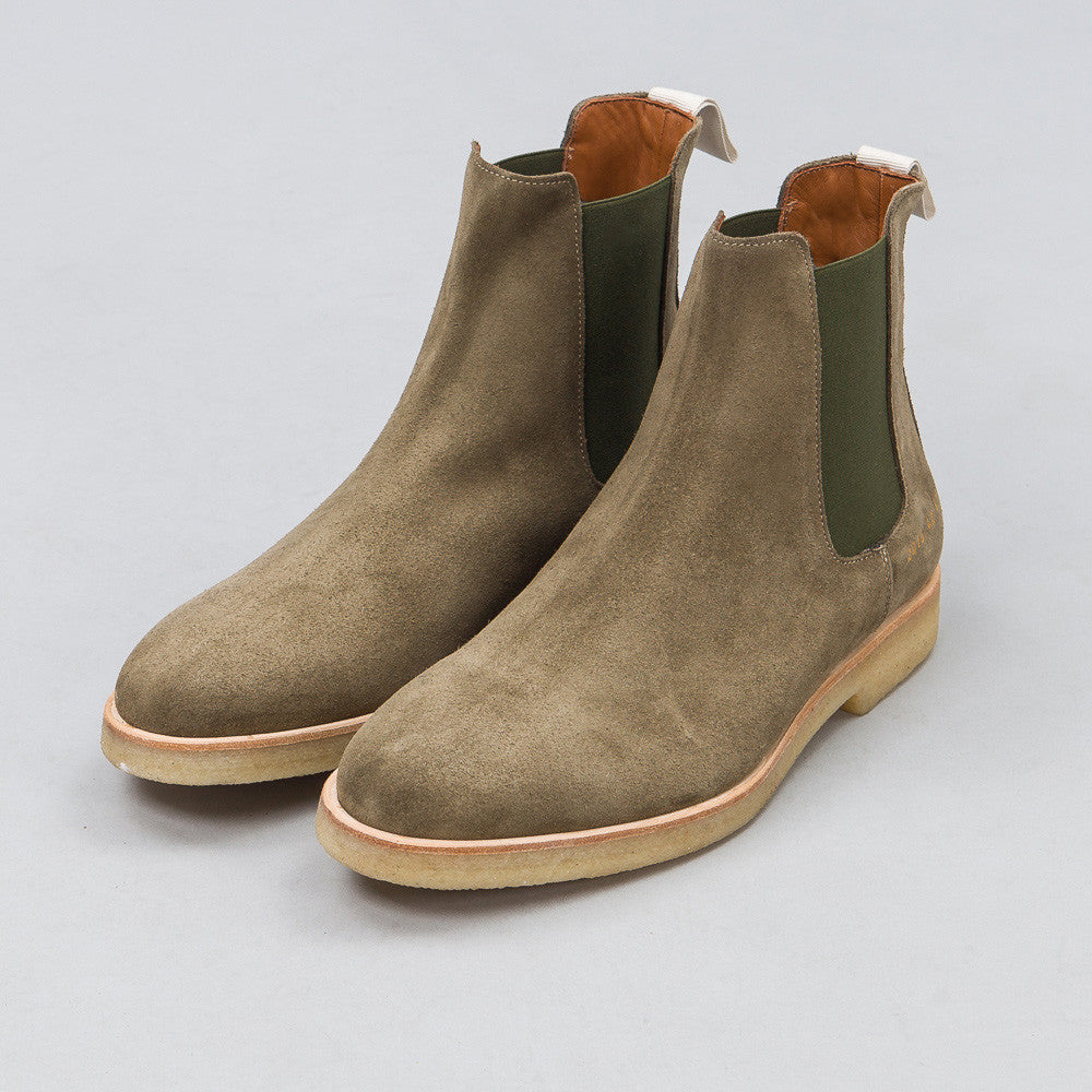 Common Projects Chelsea Boot in Olive Suede 2018-5773